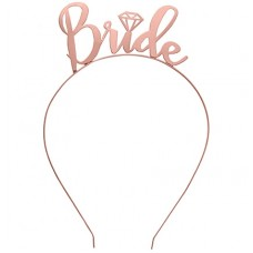 Metal Headband Bride with Diamond - ROSE GOLD