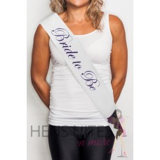 White Sash with Cursive Purple Writing - BRIDE TO BE