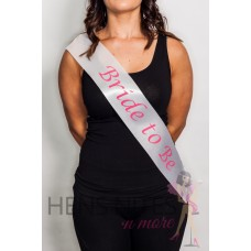 White Sash with Pink Writing - BRIDE TO BE