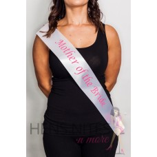 White Sash with Pink Writing - MOTHER OF THE BRIDE