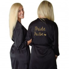 Satin Robe Black - BRIDE TRIBE WITH GOLD WRITING