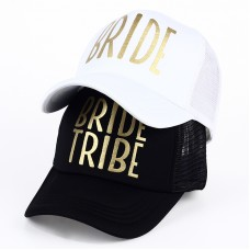 Trucker Cap Hat - Bride Tribe Black with Gold and Bride Set (6 Hats)