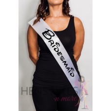 Disney Inspired Sash White with BLACK Writing - BRIDESMAID
