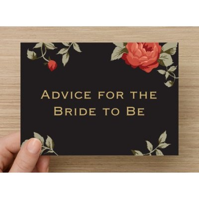 Advice Cards for the Bride to Be - Black and Red Floral