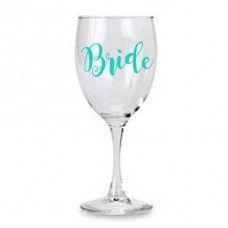 Wine Glass - Bride Aqua