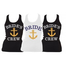 Iron On Transfer Glitter Blue and Gold - BRIDE AND BRIDE'S CREW WITH ANCHOR SET (3 TRANSFERS)