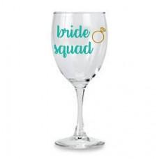 Wine Glass - Bride Squad Aqua