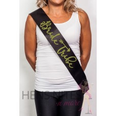 Bride Tribe Sash - Black with Gold Writing
