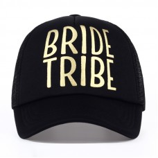 Trucker Cap Hat - Bride Tribe Black with Gold Writing
