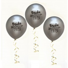Hens Night Balloons -  Silver with Black Writing Bride Tribe