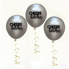 Hens Night Balloons -Cheers Bitches Silver