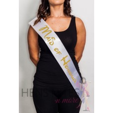 Disney Inspired Sash White with GOLD Writing - MAID OF HONOUR