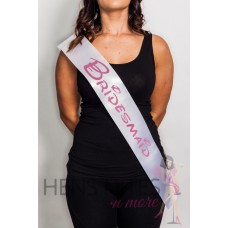 Disney Inspired Sash White with PINK Writing - BRIDESMAID