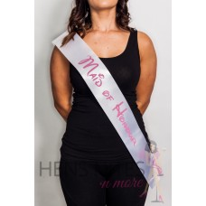 Disney Inspired Sash White with PINK Writing - MAID OF HONOUR