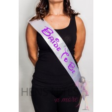Disney Inspired Sash White with PURPLE Writing - BRIDE TO BE