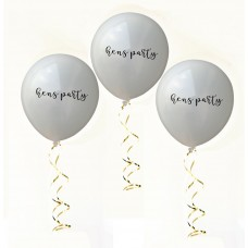 Hens Night Balloons -  Hens Party White with Black