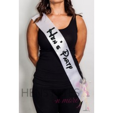 Disney Inspired Sash White with BLACK Writing - HEN'S PARTY