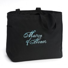 Tote Bag Black and Aqua - Matron of Honor
