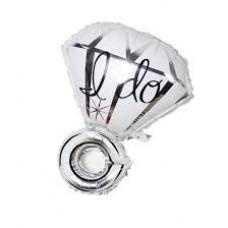 Foil Balloon - Diamond Helium Balloon I DO SILVER
