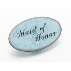 Aqua Pin Badge - Maid of Honor