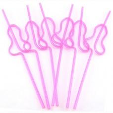 Pecker Straw - Spiral Hot Pink Pecker Shaped