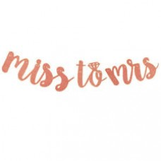 Banner - Miss to Mrs with a Diamond Ring Glitter Rose Gold