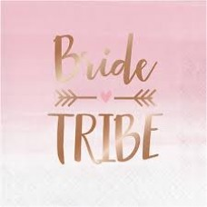 Hens Party Luncheon Size Napkins - Rose Gold Bride Tribe