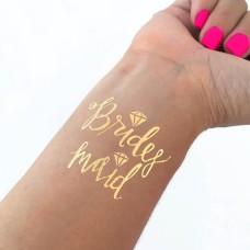Temporary Tattoo Gold - Bridesmaid with Diamond