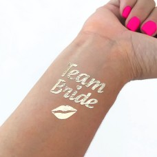 Temporary Tattoo Gold - Team Bride with Lips