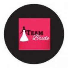 Round sticker - Team Bride Black and Pink