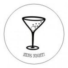 Round sticker - Hens Night Martini White