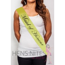 Yellow Sash with Cursive Black Writing - MAID OF HONOUR